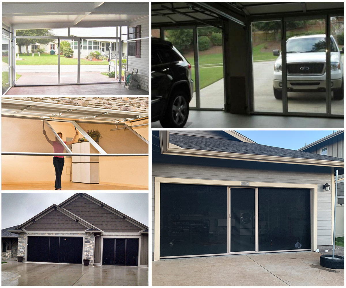 image of garages with Rayno garage screens installed